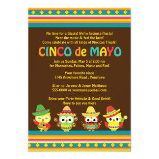 Hiboux de Mexicain de Cinco De Mayo Carton D'invitation 12,7 Cm X 17,78 Cm