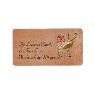 Hiboux de rose et d'or et étiquette de adresse de étiquette d'adresse