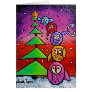 Hiboux et carte de Noël à feuillage persistant