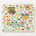Hiboux et fleurs colorés Mousepad heureux Tapis De Souris