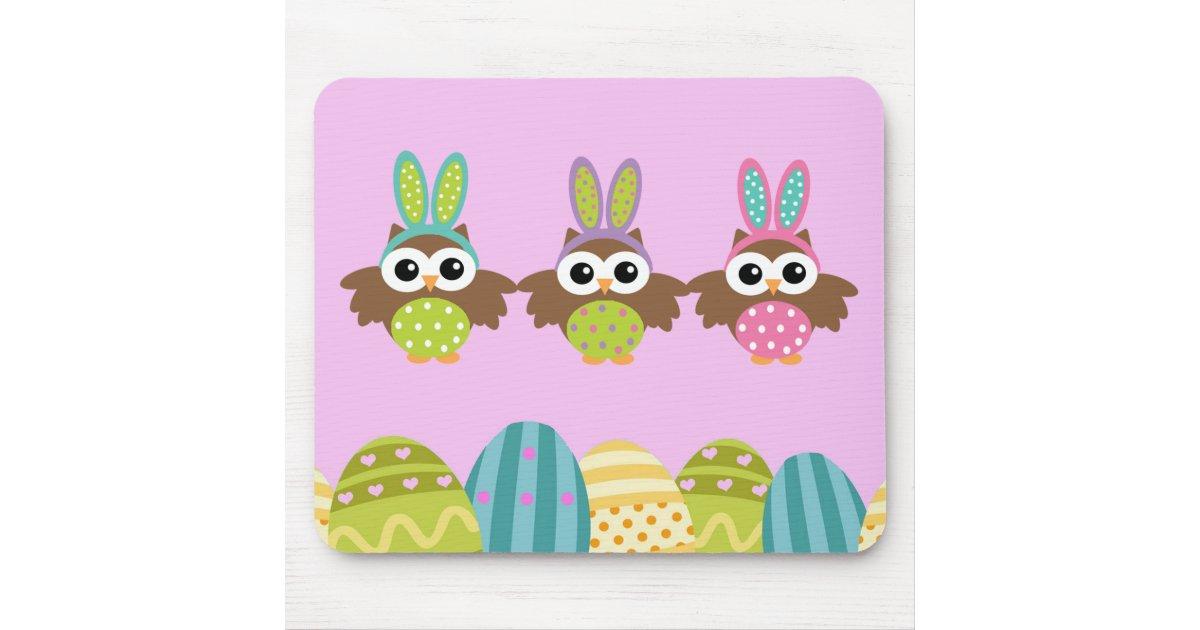 Hiboux heureux de lapin de p ques tapis de souris zazzle for Surface minimum bureau code du travail