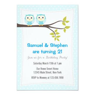 Hiboux jumeaux d'invitation de fête d'anniversaire carton d'invitation  12,7 cm x 17,78 cm