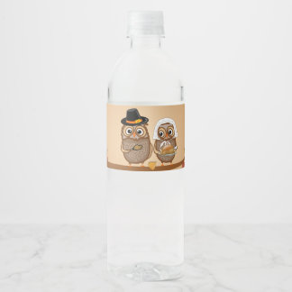 Hiboux lunatiques de thanksgiving étiquette pour bouteilles d'eau
