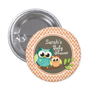 Hiboux mignons ; Chevron orange et blanc ; Baby Badge Avec Épingle