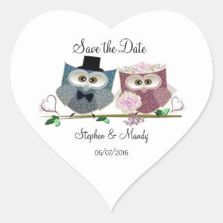 Hiboux mignons de mariage sticker cœur