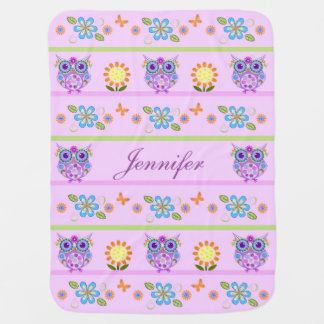 Hiboux mignons, fleurs et nom fait sur commande couvertures pour bébé