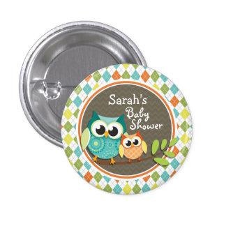 Hiboux mignons sur le Jacquard coloré ; Baby Badge Rond 2,50 Cm