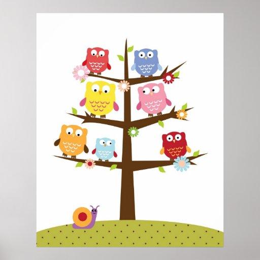 Hiboux mignons sur l'illustration d'arbre posters