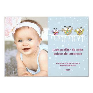 Hiboux refroidissant des vacances de carte de carton d'invitation  12,7 cm x 17,78 cm