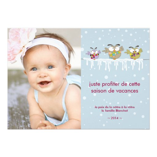 Hiboux refroidissant des vacances de carte de phot carton d'invitation