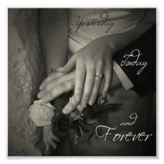 Hier, aujourd'hui et pour toujours je t'aime mains impression photographique