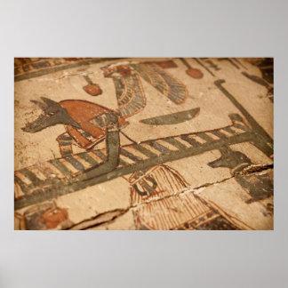 Hiéroglyphe égyptien d'Anubis et d'une maman Posters