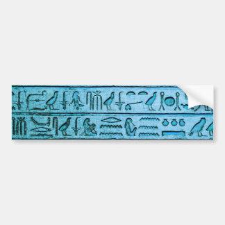 Hiéroglyphes égyptiens antiques bleus autocollant de voiture