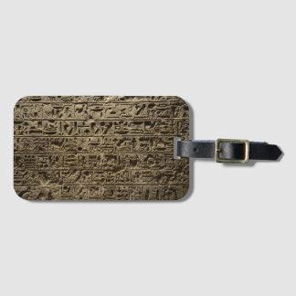 hiéroglyphes égyptiens antiques étiquette à bagage