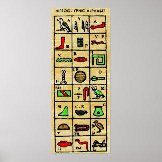 Hiéroglyphes égyptiens, symboles alphabétiques posters