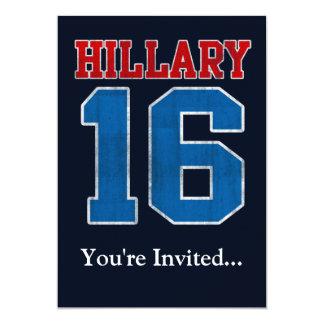 Hillary 2016, rétro parti politique grunge carton d'invitation  12,7 cm x 17,78 cm
