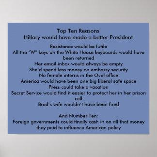 Hillary améliorent le président poster