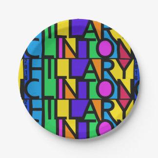 Hillary Clinton colorée 2016 plaques à papier Assiettes En Papier