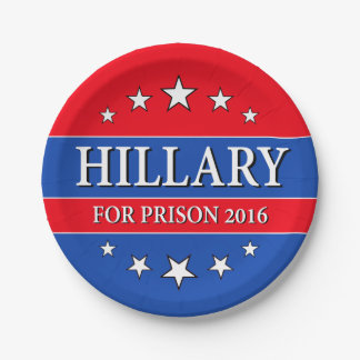 """""""HILLARY POUR LA PRISON 2016 """" ASSIETTES EN PAPIER"""