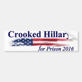 Hillary tordue pour la prison 2016 autocollant de voiture