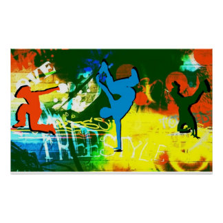 Hip hop d'affiche de graffiti de danse de coupure  posters