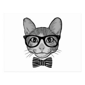Hippie blanc noir de chat avec la cravate d'arc carte postale
