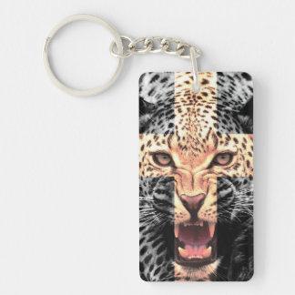 Hippie croisé de léopard porte-clé rectangulaire en acrylique double face