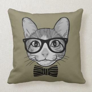 Hippie gris noir de chat avec la cravate d'arc coussin décoratif