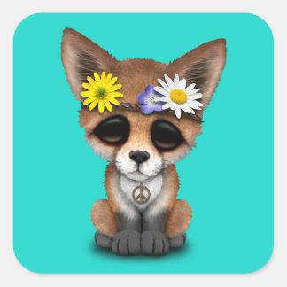Hippie mignonne de Fox de bébé Sticker Carré