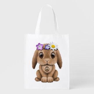 Hippie mignonne de lapin de bébé sacs d'épicerie