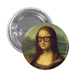 Hippie Mona Lisa en verres da Vinci de hippie Badge