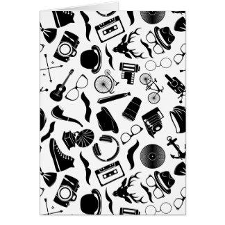 Hippie noir de motif cartes de vœux