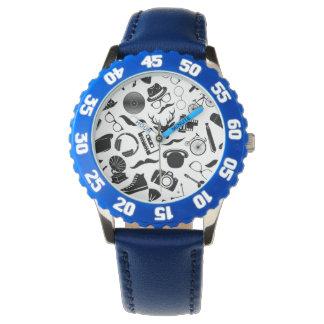 Hippie noir de motif montres bracelet