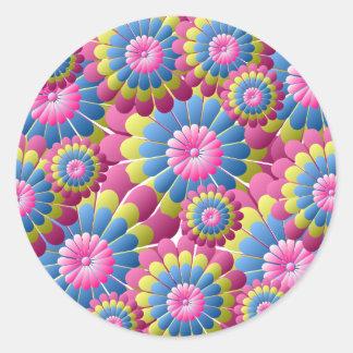 Hippie psychédélique flower power sticker rond