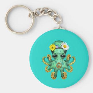 Hippie verte mignonne de poulpe de bébé porte-clés