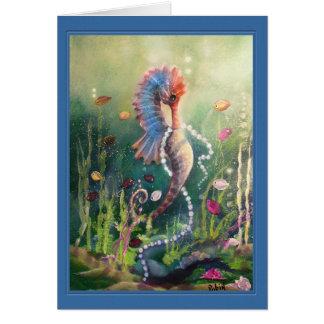 Hippocampe et carte colorés de perles