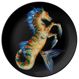 hippocampe sur le noir assiettes en porcelaine