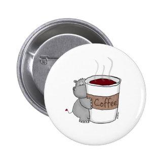 Hippopotame avec du café badge