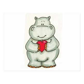 Hippopotame avec le coeur cartes postales