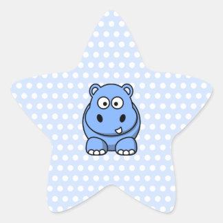 Hippopotame bleu mignon sticker en étoile