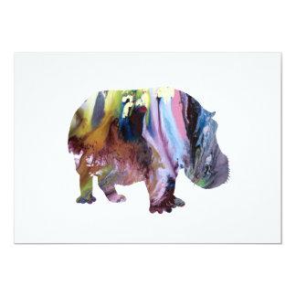 Hippopotame Carton D'invitation 12,7 Cm X 17,78 Cm