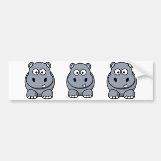 Hippopotame de bande dessinée autocollant pour voiture