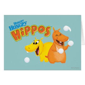 Hippopotame jaune et orange carte de vœux