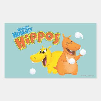 Hippopotame jaune et orange sticker rectangulaire