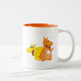 Hippopotame jaune et orange tasse 2 couleurs
