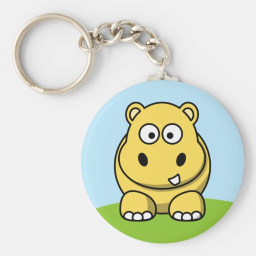 Hippopotame jaune mignon porte-clef