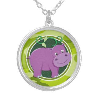 Hippopotame mignon camo vert clair camouflage colliers personnalisés