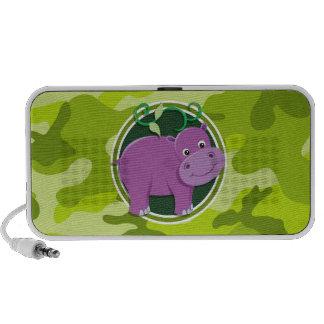 Hippopotame mignon camo vert clair camouflage mini haut-parleur