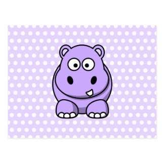 Hippopotame mignon de lavande cartes postales
