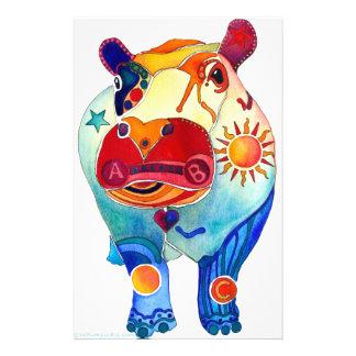 Hippopotame Papier À Lettre Personnalisable
